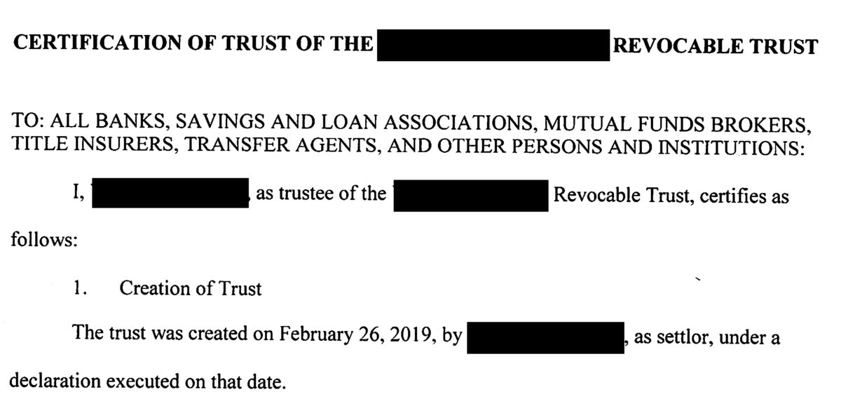 What is a Certification of Trust?